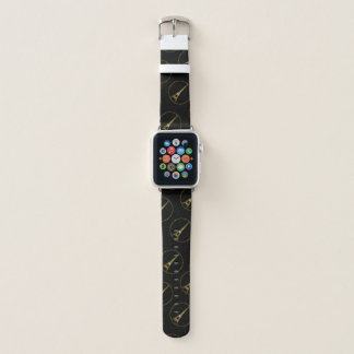 Eiffel-TurmgoldGlitter-Glitzern-Musterschwarzes Apple Watch Armband