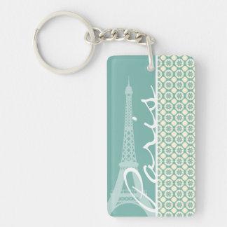 Eiffelturm; Blaugrünes u. Sahneparis Schlüssel Anhänger
