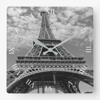 Eiffelturm, der oben B&W quadratische Wanduhr