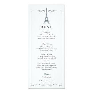 Eiffelturm-elegante Hochzeits-Menü-Karte 10,2 X 23,5 Cm Einladungskarte