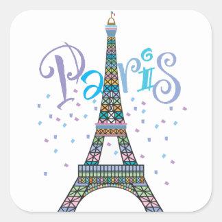 Eiffelturm-Fantasieaufkleber Quadratischer Aufkleber