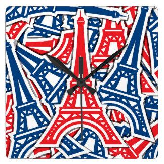 Eiffelturm, Frankreich-Muster Quadratische Wanduhr