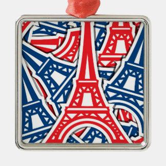 Eiffelturm, Frankreich-Muster Quadratisches Silberfarbenes Ornament