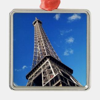 Eiffelturm-Frankreich-Reise-Fotografie Quadratisches Silberfarbenes Ornament