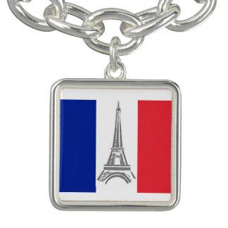 Eiffelturm-französisches Flaggen-Charme-Armband Charm Armbänder