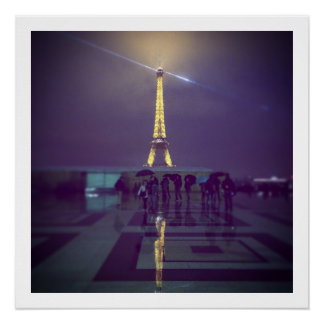 Eiffelturm im Regen, Paris 2014 Poster