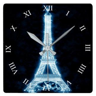 Eiffelturm in der weißen quadratische wanduhr