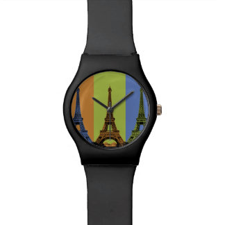 Eiffelturm in Paris-Triptychon Armbanduhr