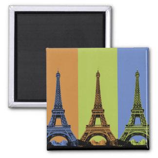 Eiffelturm in Paris-Triptychon Quadratischer Magnet