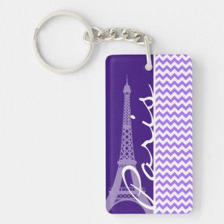 Eiffelturm; Lila Zickzack Schlüsselring