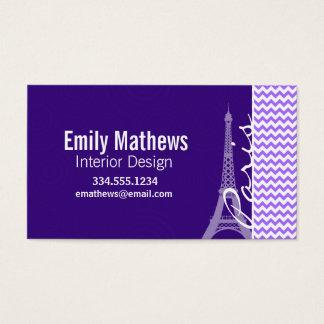 Eiffelturm; Lila Zickzack Visitenkarte