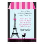 Eiffelturm-Mädchen-Geburtstags-Einladung