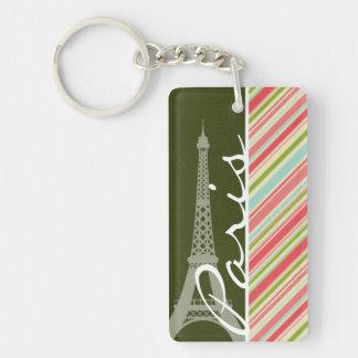 Eiffelturm mit den korallenroten u. grünen Streife Schlüsselring