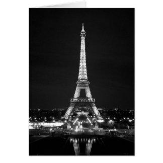 Eiffelturm nachts - B/W Karte