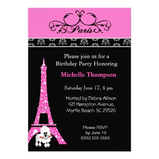 Eiffelturm-Paris-Geburtstags-Einladungen