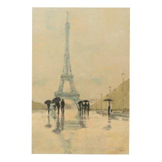 Eiffelturm | Paris im Regen Holzleinwand