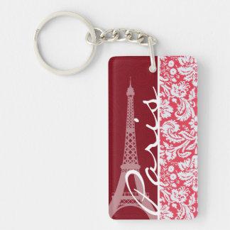 Eiffelturm, Paris, roter Damast Schlüsselanhänger