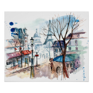 Eiffelturm-Paris-Straßen-Aquarell Poster