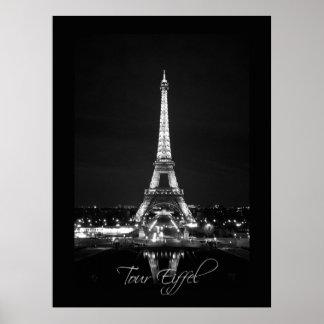 Eiffelturm Plakat am NachtB&W