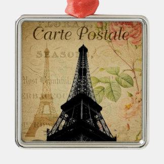 Eiffelturm Quadratisches Silberfarbenes Ornament