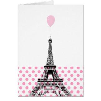 Eiffelturm-rosa Ballon-Tupfen-Karte Grußkarte