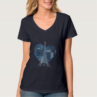 Eiffelturm u. Aufschriften Paris im Herzen T-Shirt