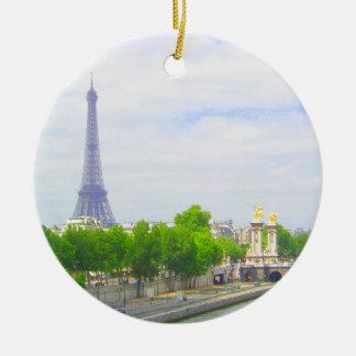 Eiffelturm u. die Seine, Paris Frankreich Keramik Ornament