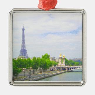 Eiffelturm u. die Seine, Paris Frankreich Quadratisches Silberfarbenes Ornament