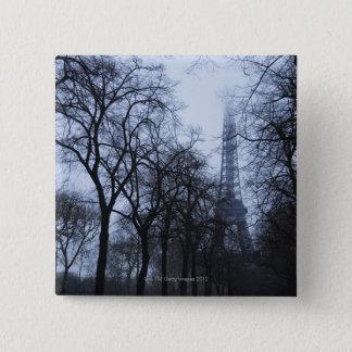 Eiffelturm und Bäume, Paris, Frankreich Quadratischer Button 5,1 Cm
