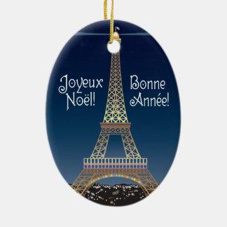 Eiffelturm-Weihnachtsverzierung Keramik Ornament