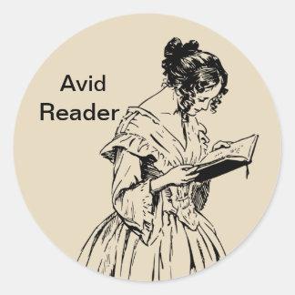 Eifriger Leser-Aufkleber Runder Aufkleber