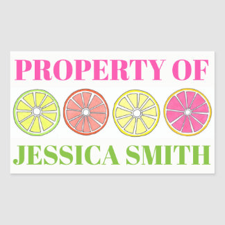 Eigentum der personalisierten Zitrusfrucht-Zitrone Rechteckiger Aufkleber