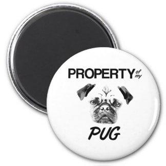 Eigentum meines Mops Runder Magnet 5,7 Cm