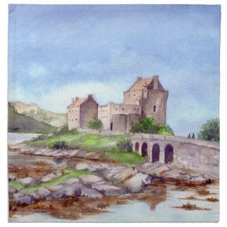 Eilean Donan Schloss-Aquarell-Malerei Serviette