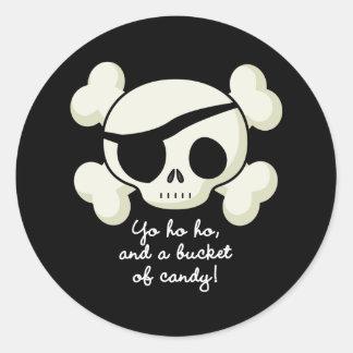 Eimer des Süßigkeits-Piraten Runder Aufkleber