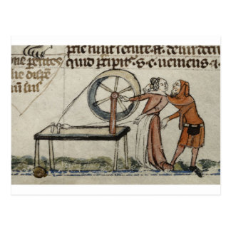 Ein amorous Treffen an einem Spinnrad Postkarte