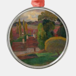Ein Bauernhof in Bretagne - Paul Gauguin Rundes Silberfarbenes Ornament