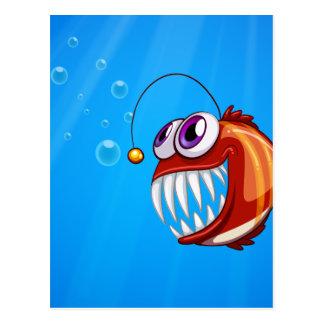 Ein beängstigender Piranha unter dem Meer Postkarte