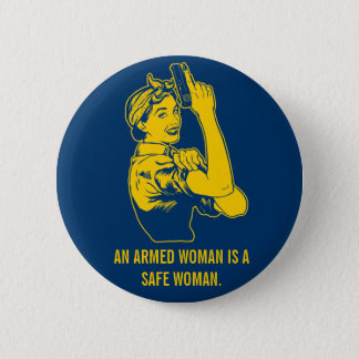 Ein bewaffneter Frauen-Knopf Runder Button 5,7 Cm
