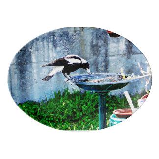 Ein Birdbath Porzellan Servierplatte