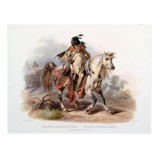 Ein blackfoot-Inder auf zu Pferde Postkarte