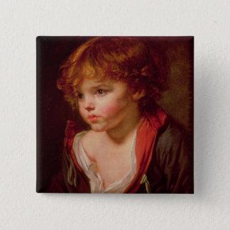 Ein blonder behaarter Junge mit einem offenen Quadratischer Button 5,1 Cm
