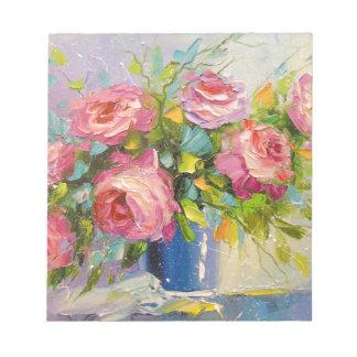 Ein Blumenstrauß der Rosen Notizblock