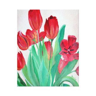 Ein Blumenstrauß der roten Tulpen Gespannter Galeriedruck