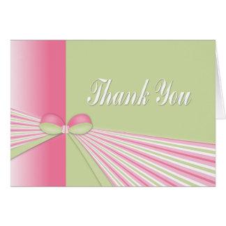 Ein Bogen mit Streifen danken Ihnen zu kardieren Karte