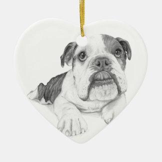 Ein Bulldoggen-Welpen-Zeichnen Keramik Ornament