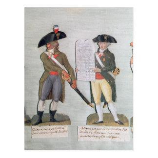 Ein Bürger bereit zu kämpfen und ein Bürger Postkarte