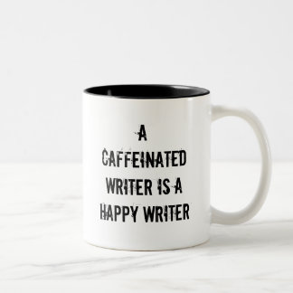 Ein Caffeinated Verfasser ist eine glückliche Zweifarbige Tasse