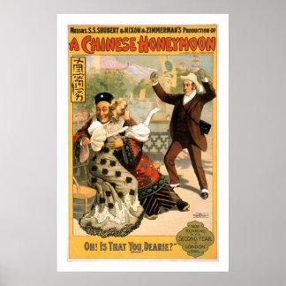 Ein chinesische Flitterwochen-Vintages Poster