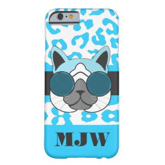 Ein cooler Katzen-Türkis-Tierdruck und Monogramm Barely There iPhone 6 Hülle